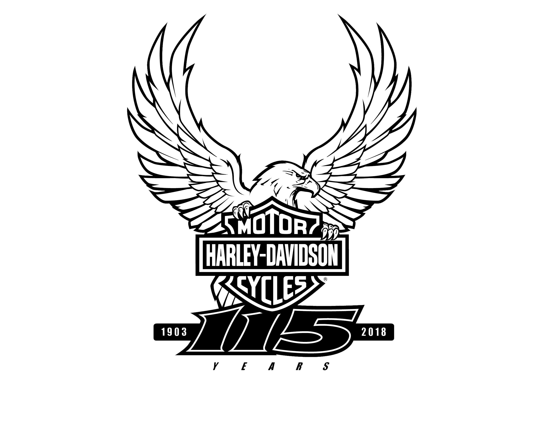 Logotip commemoratiu dels 115 anys d'història amb l'icònic emblema de H-D acompanyat de l'àguila