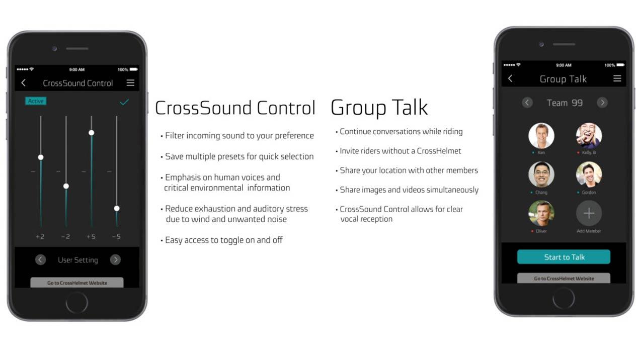 Silenciar sons i converses en grup Crosshelmet